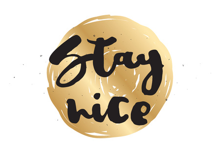 nice stay: Stay nice inspirational inscription. Greeting card with calligraphy. Hand drawn lettering design. Photo overlay. Typography for banner, poster or apparel design. Vector typography.