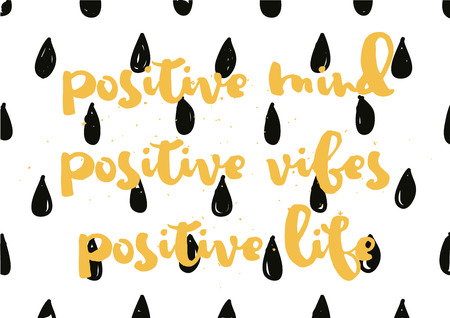 vibes: Positive mind, vibes, life inspirational inscription. Greeting card with calligraphy. Hand drawn lettering design. Photo overlay. Typography for banner, poster or apparel design. Vector typography.