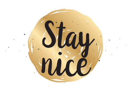 nice stay: Stay nice inspirational inscription. Greeting card with calligraphy. Hand drawn lettering design. Photo overlay. Typography for banner, poster or clothing design. Vector invitation.