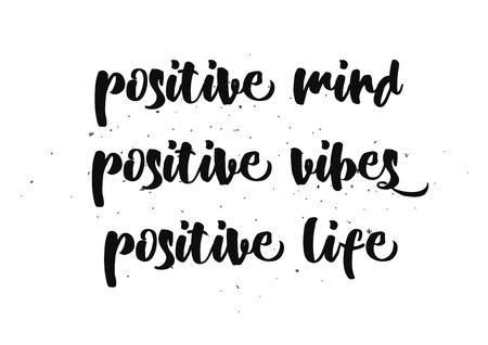 vibes: Positive mind, vibes, life inspirational inscription. Greeting card with calligraphy. Hand drawn lettering design. Photo overlay. Typography for banner, poster or clothing design. Vector invitation.