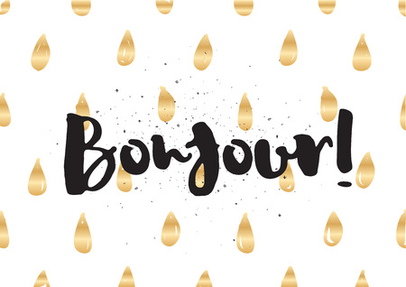 bonjour: Bonjour (hello) inscription. Greeting card with calligraphy. Hand drawn lettering design. Typography for invitation, banner, poster or clothing design. Vector quote