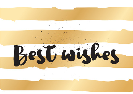 best wishes: Best wishes inscription. Greeting card with calligraphy. Hand drawn lettering design. Photo overlay. Typography for invitation, banner, poster or clothing design. Vector quote