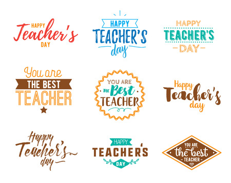 enseignants Happy day vecteur typographie définie.