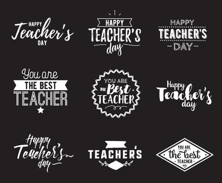 Gelukkige leraren dag vector typografie set.
