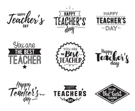 Happy teachers day vector typography set. Stock Illustratie
