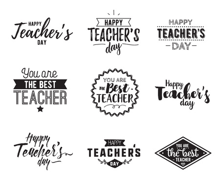 Happy teachers day vector typography set.