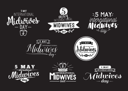 midwifery: International Midwives day. 5 may. Vector typography for greeting cards, banners or print. Text design