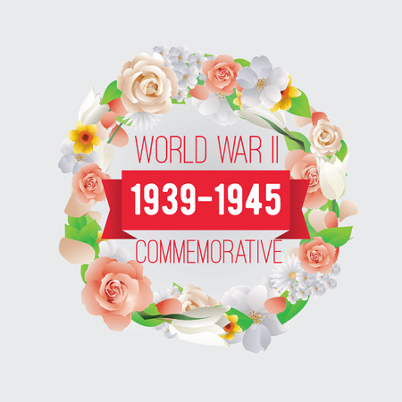commemorative: World war II commemorative day. Vector typography for cards, banners, posters. Text design with frame and flowers. 1939-1945. Illustration