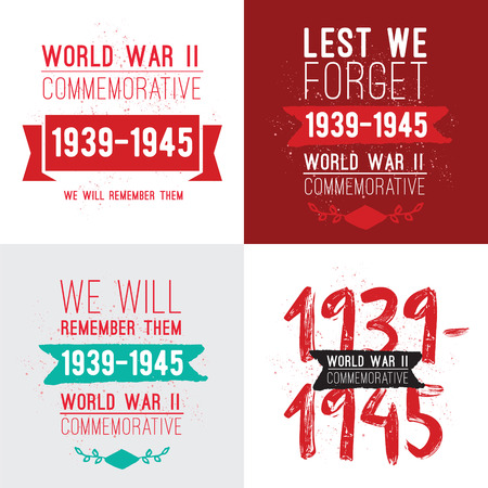commemorative: World war II commemorative day. Vector typography for cards, banners, posters. Text design. 1939-1945. Illustration