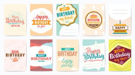 Feliz cumpleaños tarjetas de felicitación establecido. Vector diseño colorido tipográfico. Ilustración de vector