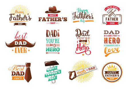 Happy fathers day set. Vector typography. Vintage lettering for greeting cards, banners, t-shirt design. You are the best dad. Illustration