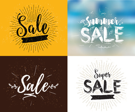 usable: Summer sale set. Drawn lettering. Vector typography. Usable for cards and posters, billboards and signs. Illustration