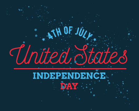 stated: Fourth of July, United Stated independence day greeting. Typographic design. Usable for greeting cards, banners, print. Illustration
