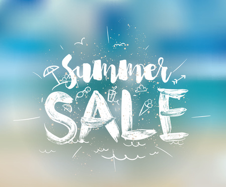 hot summer: Summer sale. Drawn lettering. Usable for cards and posters, billboards and signs.