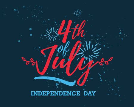 Fourth of July, United Stated independence day greeting. Typographic design. Usable for greeting cards, banners, print. Illustration