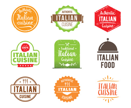 italia: Italia cuisine, authentic traditional food typographic design set. Vector logo, label, tag or badge for restaurant and menu. Isolated. Illustration