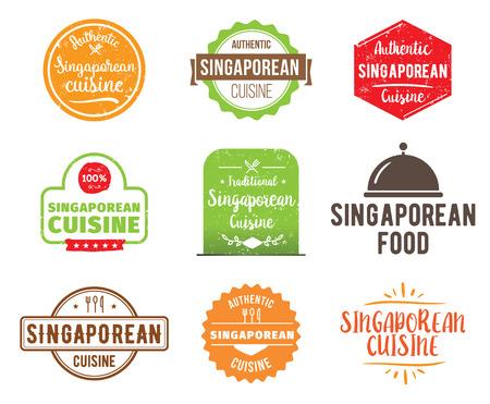 singaporean: Singaporean cuisine, authentic traditional food typographic design set. Vector logo, label, tag or badge for restaurant and menu. Isolated.