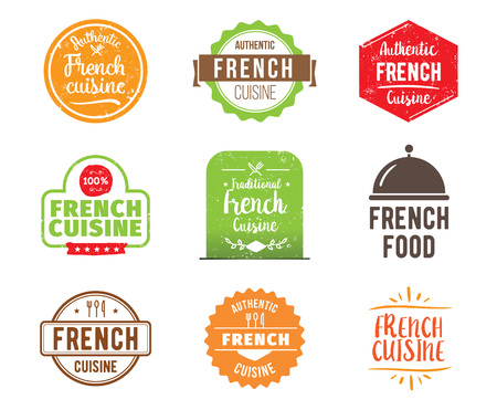 french cuisine: French cuisine, authentic traditional food typographic design set. Vector logo, label, tag or badge for restaurant and menu. Isolated.