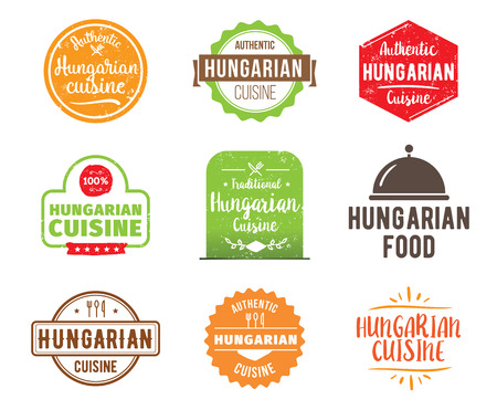 hungarian: Hungarian cuisine, authentic traditional food typographic design set. Vector logo, label, tag or badge for restaurant and menu. Isolated. Illustration