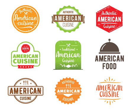 american cuisine: American cuisine, authentic traditional food typographic design set. Vector logo, label, tag or badge for restaurant and menu. Isolated.
