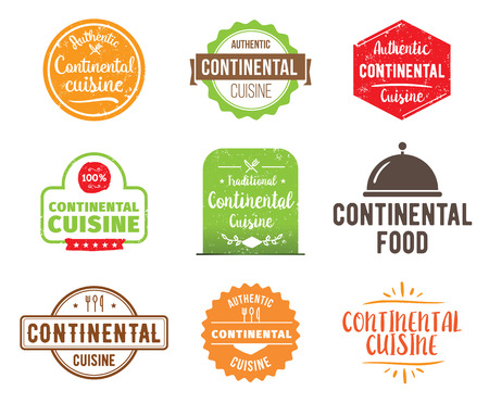 continental food: Continental cuisine, authentic traditional food typographic design set. Vector logo, label, tag or badge for restaurant and menu. Isolated.