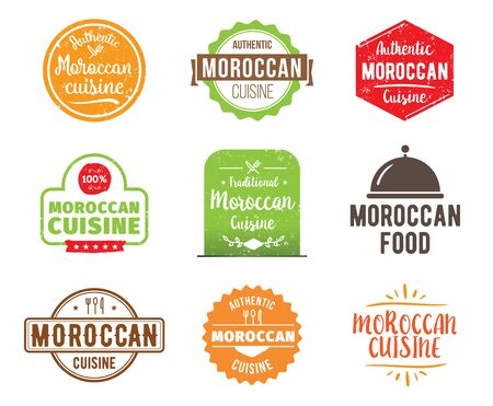 moroccan cuisine: Moroccan cuisine, authentic traditional food typographic design set. Vector logo, label, tag or badge for restaurant and menu. Isolated. Illustration