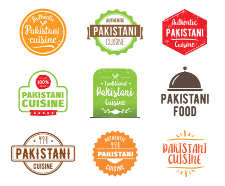 pakistani: Pakistani cuisine, authentic traditional food typographic design set. Vector logo, label, tag or badge for restaurant and menu. Isolated.