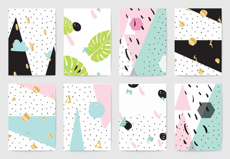 Creative cards set. Geometric abstract hand drawn patterns. Usable as greeting cards, banners, invitations, flyer, posters for holidays, birthday, merriage. Isolated vectors Stock Illustratie