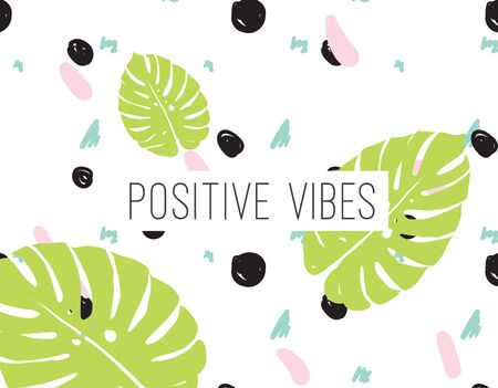 vibes: Positive vibes inscription on abstract geometric modern background with hand drawn elements. Inpirational quote. Positive motivational text.