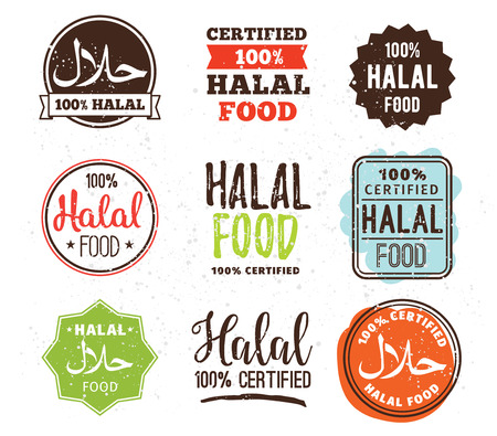 Halal food labels vector set. Badges or tag design. Muslim traditional food.
