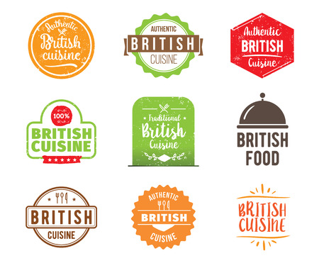 british cuisine: British cuisine, authentic traditional food typographic design set. Vector logo, label, tag or badge for restaurant and menu. Isolated.