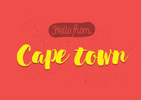 cape town: Hello from Cape town, South Africa. Greeting card with typography, lettering design. Hand drawn brush calligraphy, text for t-shirt, post card, poster. Isolated vector illustration.