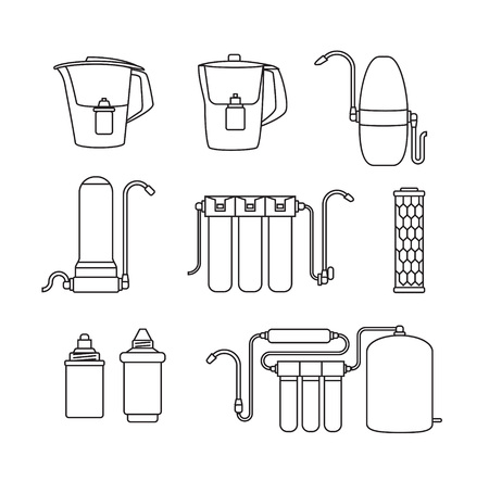 filtration: Water filter isolated vector icons. Linear style. Water purification equipment, cartridge, filters