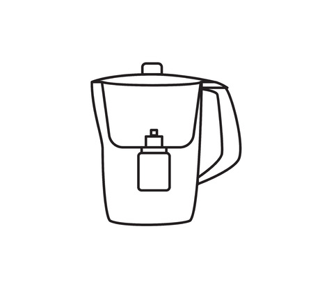 water filter: Water filter isolated icon. Black and white. vector illustration.