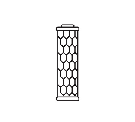filtration: Water filter cartridge. Isolated vector icon. Black and white.