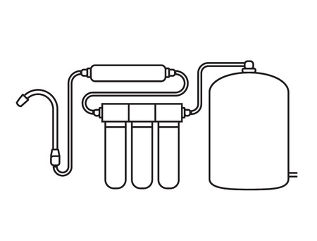 filtration: Water filter isolated icon. Black and white. vector illustration.