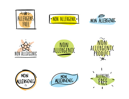 allergens: Allergens free, non allergenic product. Set of isolated vector labels, stickers, icons, marks. Hand drawn colorful design for packaging on white background.