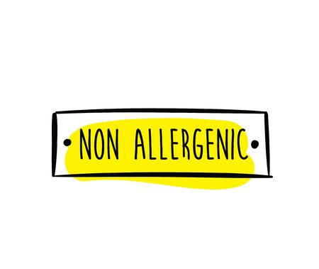 allergens: Allergens free, non allergenic product. Isolated vector label, stickers icon or mark. Hand drawn colorful design for packaging on white background.