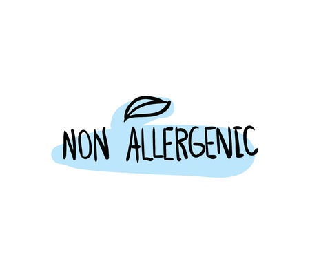allergenic: Allergens free, non allergenic product. Isolated vector label, stickers icon or mark. Hand drawn colorful design for packaging on white background.