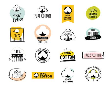 Natürliche organische Baumwolle, reine Baumwolle Vektor-Etiketten. Hand gezeichnet, typographische Stil-Ikonen oder Abzeichen, Aufkleber, Schilder. Isoliert auf weißem Hintergrund.