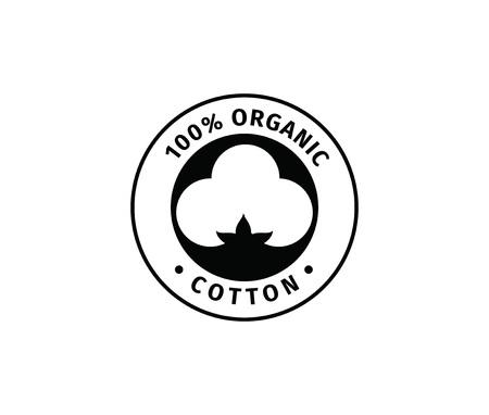 Natuurlijk organisch katoen vector label, sticker, logo. Geïsoleerde pictogram op witte achtergrond.