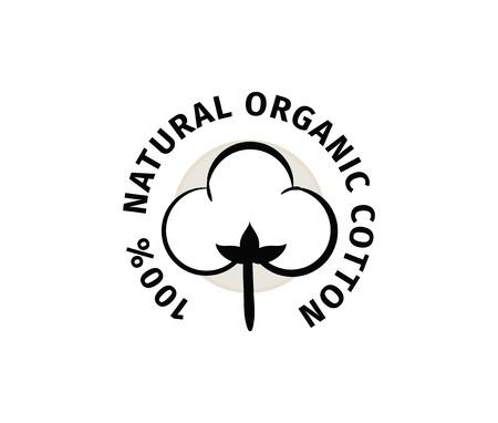 Natürliche organische Baumwolle Vektor-Label, Aufkleber. Isolierte Symbol auf weißem Hintergrund. Vektorgrafik