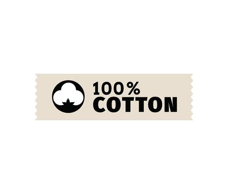 organic cotton: Natural organic cotton vector label, sticker. Isolated icon on white background.