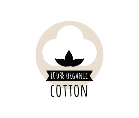 Natürliche organische Baumwolle Vektor-Label, Aufkleber. Isolierte Symbol auf weißem Hintergrund.