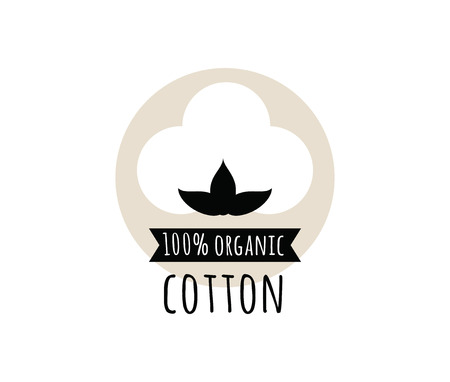 Natural organic cotton vector label, sticker. Isolated icon on white background.