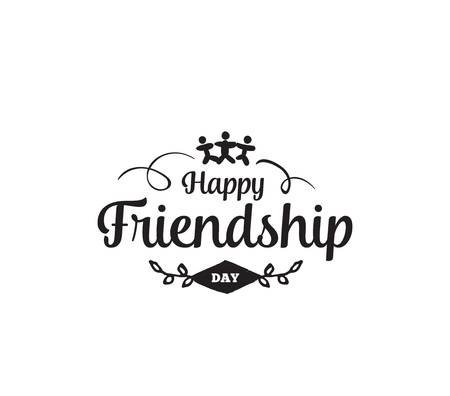 usable: Happy Friendship day vector typographic design. Inspirational quote about friendship. Usable as greeting cards, posters, clothing, t-shirt for your friends. Illustration