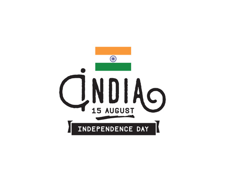 15: India Independence day, 15th august. Vector typographic emblem,  badge. Usable for greeting cards, print, t-shirts, posters. Illustration