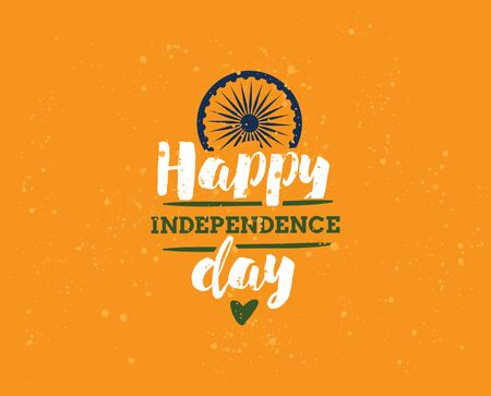 usable: India Independence day, 15th august. Vector typographic emblem, badge. Usable for greeting cards, print, t-shirts, posters.