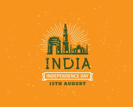 august: India Independence day, 15th august. Vector typographic emblem,  badge. Usable for greeting cards, print, t-shirts, posters. Illustration