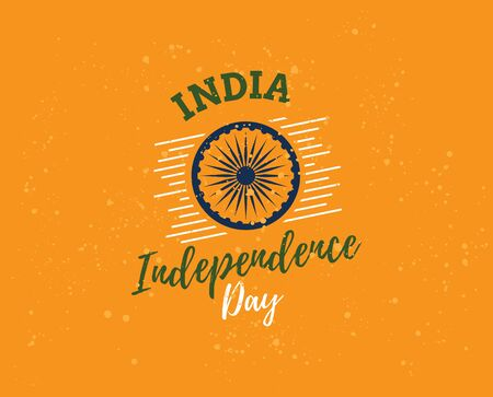 usable: India Independence day, 15th august. Vector typographic emblem,  badge. Usable for greeting cards, print, t-shirts, posters. Illustration